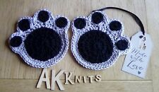 Pair of Crochet Pawprint  Coasters Dog Lover Gift Idea Made with Love Tag 🐕