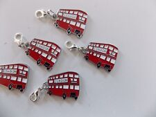 RED LONDON BUS enamel clip on charm lobster clasp for charm bracelets