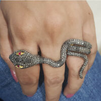Diamond Pave Snake Design Three Finger Ring 925 Silver Wedding Fine Gift Jewelry
