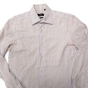 Hugo Boss Mens Dress Shirt 14 1/2 - 32/33 Slim Pink Blue Stripes Button Up