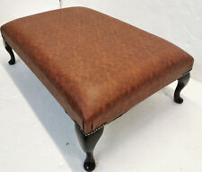 Brand New Handmade Chesterfield Footstool Faux Tan Leather