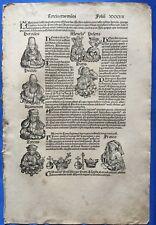 Blatt XXXVII, Schedel Weltchronik 1493, Nürnberg, Herkules, Hektor, Paris Helena