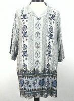 GUESS Hawaiian Shirt Brown Blue Floral Rayon Aloha Casual Men's 2XL XXL $79
