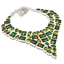Bi-Color Turmaliane,Peridot Gemstone Handmade Necklace 123 Gms RBN-1589