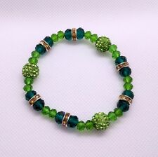 Sparkling Green Handmade Elasticated Faux Pearl Beads Bracelets for Women