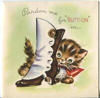 VINTAGE CUTE BROWN TABBY CAT KITTEN WOMENS SHOE BOOT BUTTONS BDAY GREETING CARD