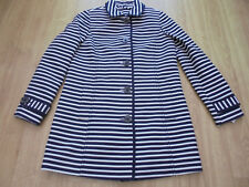 BODEN CHIC NAVY  & IVORY STRIPE TIPPED LIZZIE COAT SIZE 8 BNWOT