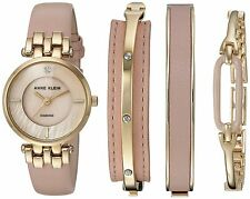 Women's Watch and Bangle Set Diamond-Accented Gold-Tone and Pink Leather Strap