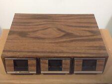 AUDIO CASSETTE STORAGE BOX - 3 DRAWER x 14 - FAUX WOOD GRAIN-- VERY NICE