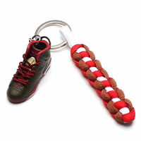 3D Mini Sneaker Shoes Keychain Retro Cigar Keyring With Strings for Air Jordan 6