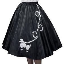 "Black SATIN 50's POODLE SKIRT Size X-Large  Waist: 40""-48"" Length 25"""