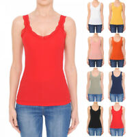 S M L Women's Lace Trim Scoop Neck Basic Tank Top Sleeveless Stretch Cotton Knit