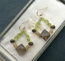 SMOKY QUARTZ EARRINGS PERIDOT 14K GOLD FILLED BIG
