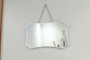 Vintage Retro Art Deco Style Small Rectangular Beveled Mirror