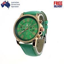 Luxury Gold Roman Green Women Numeral Leather Analog Quartz Wristwatch