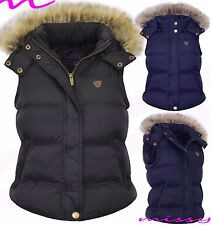 Womens GILET BODYWARMER LADIES QUILTED COAT PUFFER FUR HOODED JACKET PARKA SIZES