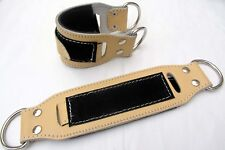 1 PAIR INFINITY Gym Ankle Straps NATURAL  Leather Cable Machine Fitness