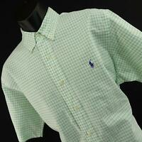 Mens Polo Ralph Lauren Classic Fit Green Button Down Shirt Size Large L Casual