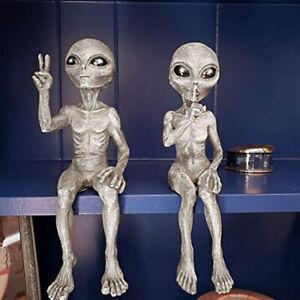 2x Outer Space Alien Garden Statue Figurine Sculpture Lawn Yard Home Decorations