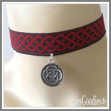 Tou de cou noeud Celtique Gothique sur ruban brodé Mod 2
