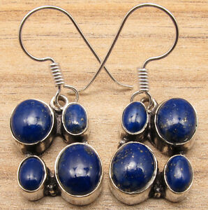 925 Silver Plated Multiple Stone Original LAPIS LAZULI WOMEN'S Earrings