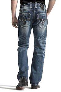ROCK REVIVAL Men's Helmut Straight Leg Vintage Jeans Fleur Embroidery Big Stitch
