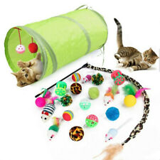 New listing 21Pc/Set Pet Kit Collapsible Tunnel Cat toy Fun Channel Feather Balls MiceUth2