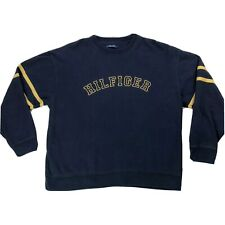 Tommy Hilfiger Logo Spellout Sweatshirt Mens Sz XXL Dark Blue Yellow Sweater