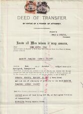 1913 South Africa Deed of Transfer with Inter-Provincial Fine Used Revenues.