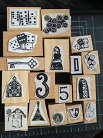 RARE! EUC Teesha Moore Zettiology Wood Mounted Rubber Stamp Lot of 16 Stamps Odd