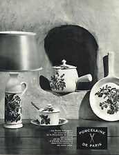 "PUBLICITE ADVERTISING 045  1963  PORCELAINE DE PARIS  "" les fruits sauvages"""