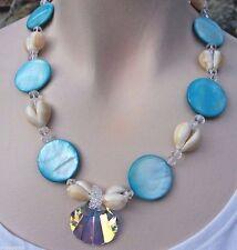 Necklace Bridal Beach Nautical Shell Swarovski Crystal Mother of Pearl Mermaid