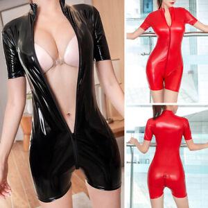 Women PVC Wet look Leather Bodysuit Open Crotch Jumpsuit Bodycon Zipper Clubwear