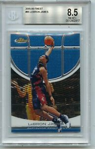 2005-06 TOPPS FINEST #85 LEBRON JAMES, CAVALIERS, LAKERS, BGS 8.5 NM-MT+