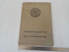 DEL MUSEO: MANUAL USO MANTENIMIENTO ORIGINAL 1929 FIAT 507 F.A. 507 FA