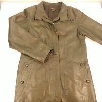 Women's Medium Long Leather Jacket Dark Gray Green Full Zip Mid Length Danier