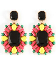 """HOT Statement Gold , Black Multi Crystal   2"""" Long Earrings By Rocks Boutique"""