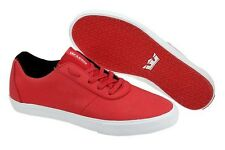 $90 Supra Cuttler Low Fashion Sneakers Chili Red Wrinkled Satin Tuf Size 10