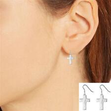 Sterling Silver Mini Cross Dangle drop Stud Earrings 14mm