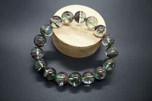 Natural Round Green Ghost Phantom Quartz Beaded Bracelet Lodolite Bracelet 12mm