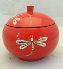 Japanese Lacquerware Black Bowl with Red Exterior & Dragonflies