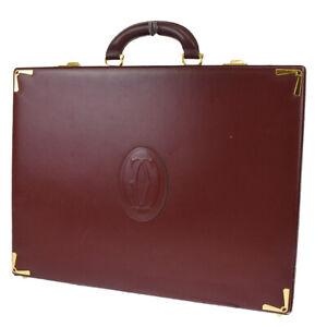 MUST DE CARTIER 2C Logos Briefcase Hand Bag Leather Bordeaux Gold Plated 32BT762
