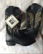 FRYE Billy Hammered Stud Black Leather WESTERN Boots Women's size 5.5 NEW