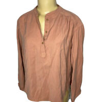 Lou & Grey Shirt Long Sleeve Blouse Top Rayon Polyester Dusty Mauve Women XS