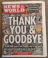 News of the World last newspaper final edition No 8674 July 10th 2011