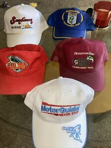 Lot Of 5 Vintage Bass Fishing Hats. Adjustable. Good Condition. Mens Hat.