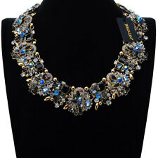 Vintage Statement Gold Chain Multi-Color Crystal Chunky Bib Necklace Jewelry