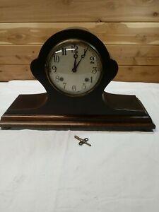 Antique New Haven Mantel Chime 8 day Clock Pendulum/Key Tambour No.12 Wood Case