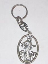 "Vintage 1 1/2"" Key Chain Medugorje Blessed Virgin Silvertone"