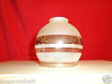 Vintage 1970's Frosted Clear Glass Light/Lamp Shade with Gold Trim. Sconces
